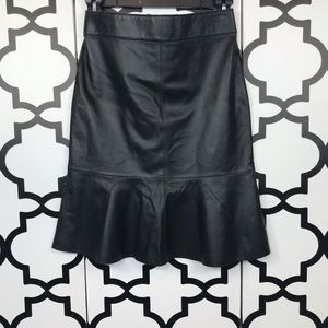 NWT Philippe Adel Black Leather Skirt